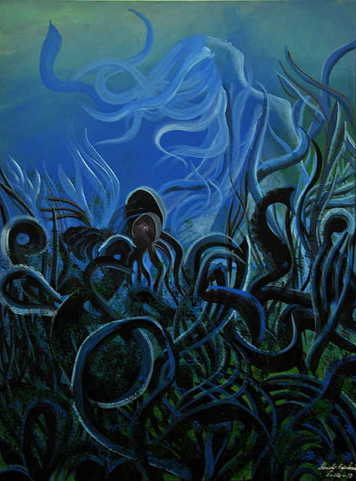 Abstract Painting - Trapped Under The Sea by Darly Raphael