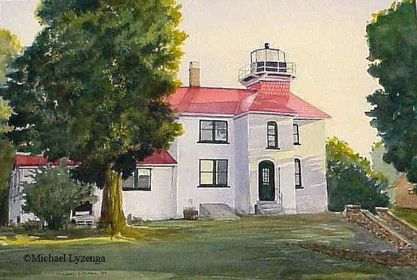 Lighthouse Painting - Traverse Light by Michael Lyzenga
