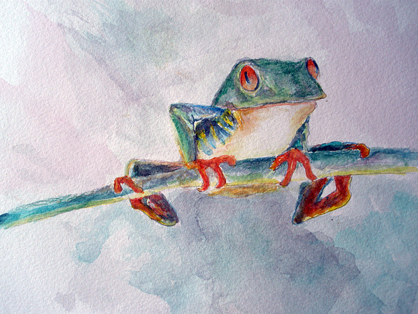Frogs Painting - Tree Frog by Mike Segura