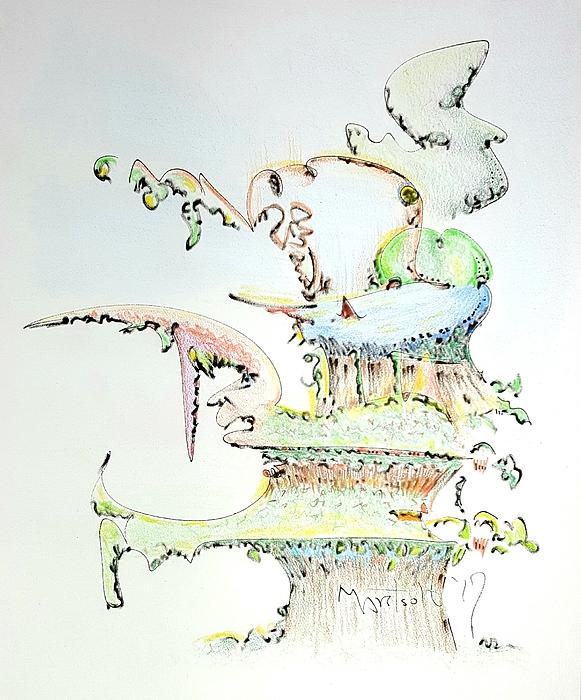 Tree Drawing - Tree House Condo Man by Dave Martsolf