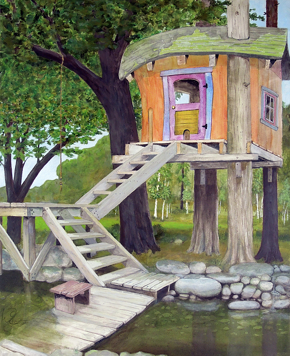 Treehouse Painting - Tree House Pond by Will Lewis