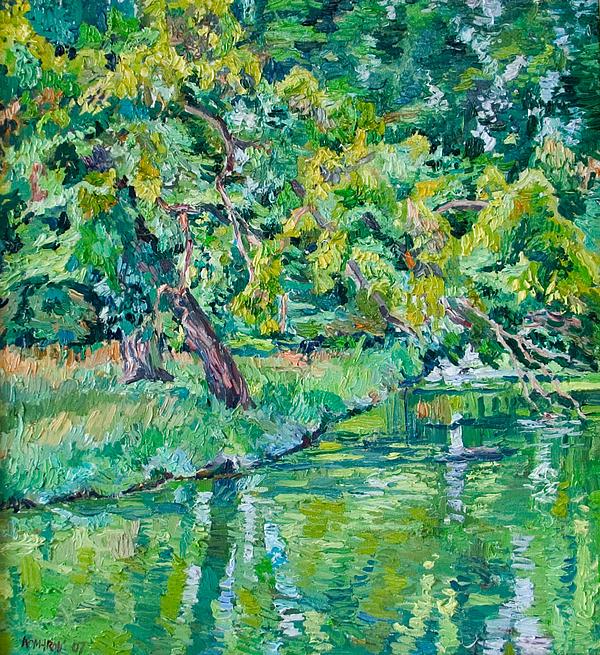 Landscape Painting - Tree Near A Pond In Lednice Castle Park by Vitali Komarov