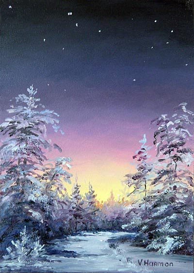 Winter Forest Painting - Trees By Star Light by Varvara Harmon