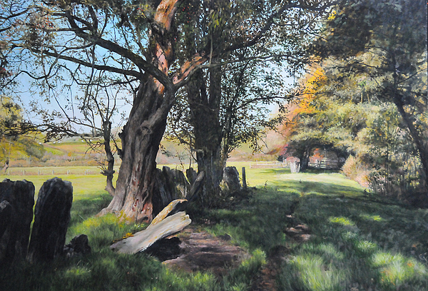 Landscape Painting - Trees Near Rhug. by Harry Robertson