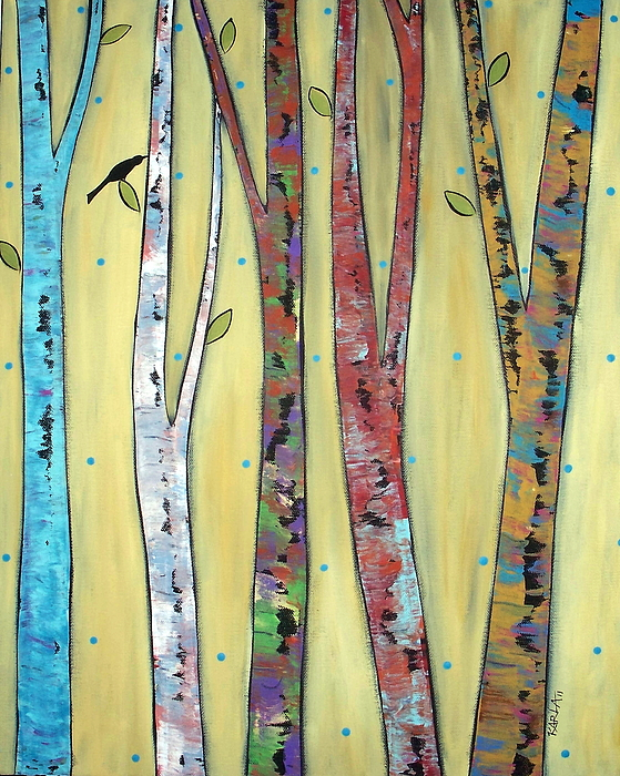Landscape Trees Bird Painting Painting - Trees On Yellow by Karla Gerard