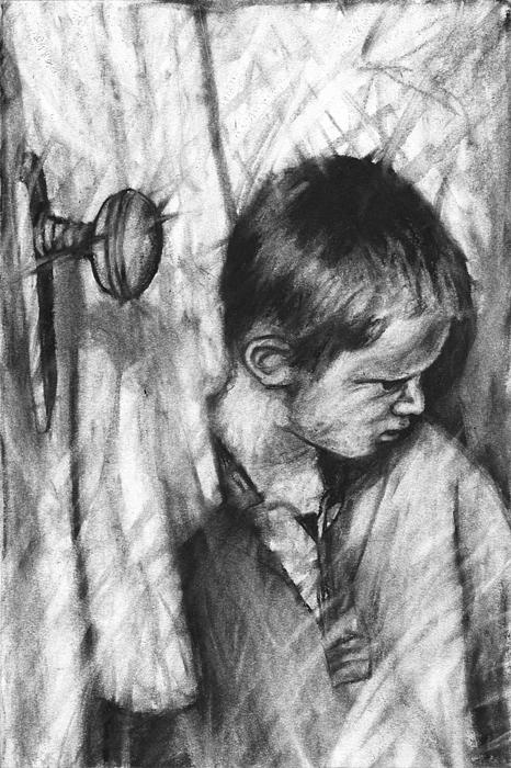 Child Drawing - Trepidation Down by John Terwilliger