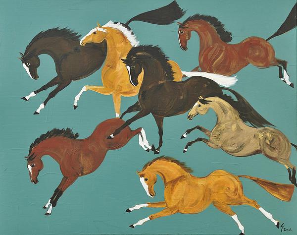 Horse Painting - Tressauter En Bleu by Liz Pizzo