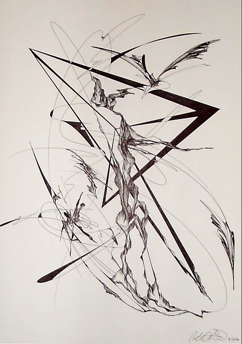 Abstract Drawing - Triangle Of The Fourth Dimension by Charles Durbin