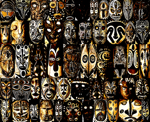 tribal masks of papua new guinea greeting card for sale by per lidvall