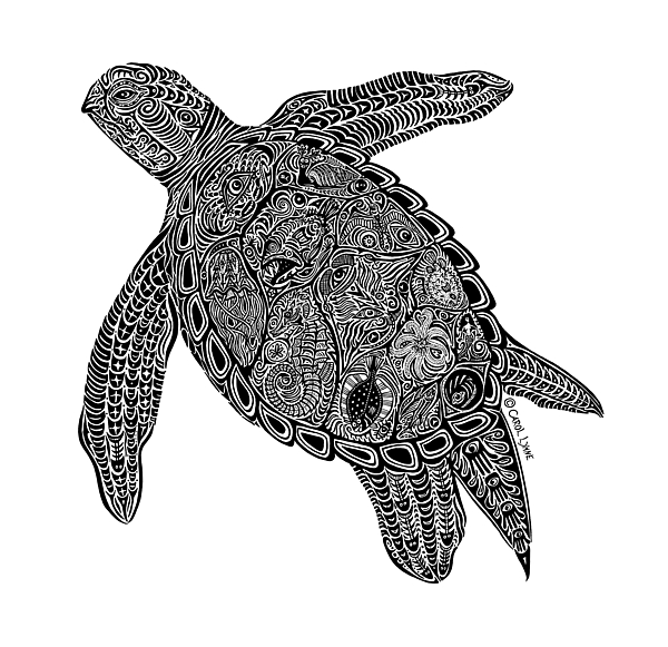 Turtle Drawing - Tribal Turtle I by Carol Lynne