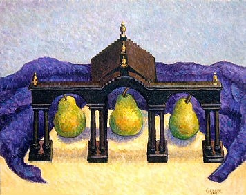 Humor Painting - Trilogy Pear Garage by Gainor Roberts