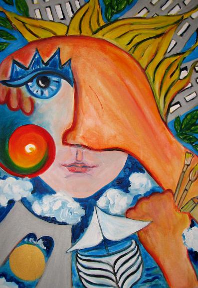City Painting - Trip To Ny by Krisztina Asztalos