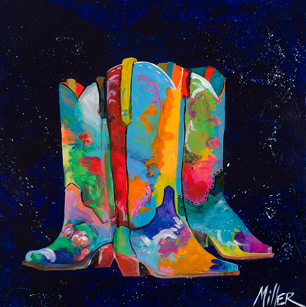 Cowboy Painting - Triple Threat by Tracy Miller