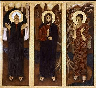 Triptych Of Buddha Jesus And Mohammed Painting by Christina Varga