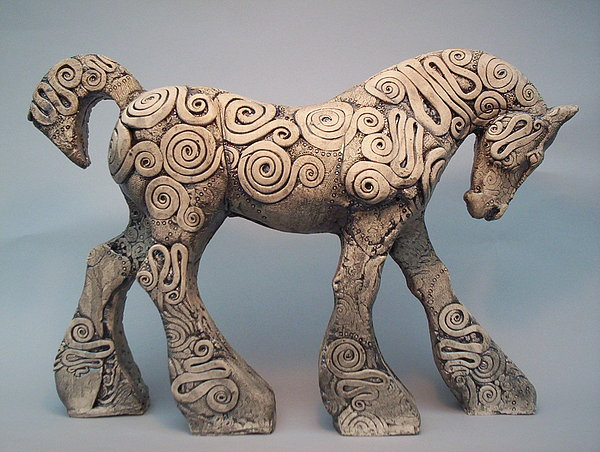 Horse Sculpture - Trojan Mare Striding by April Young