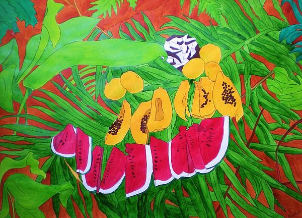 Watercolour Painting - Tropical Fruits by Michaela Bautz