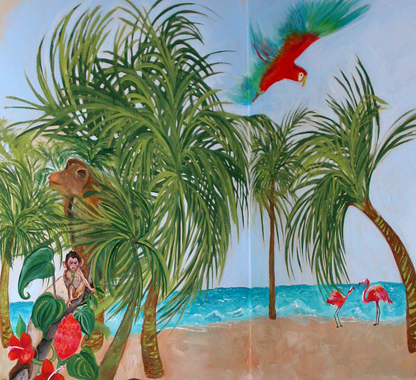 Tropical mural painting by anne cameron cutri for America tropical mural