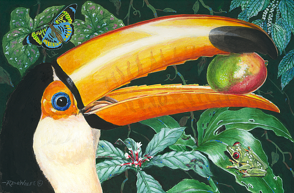 Rain Forest Painting - Tropical Rain Forest Toucan by Richard De Wolfe
