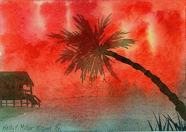 Tropical Painting - Tropical Sunset by Kelly Miller