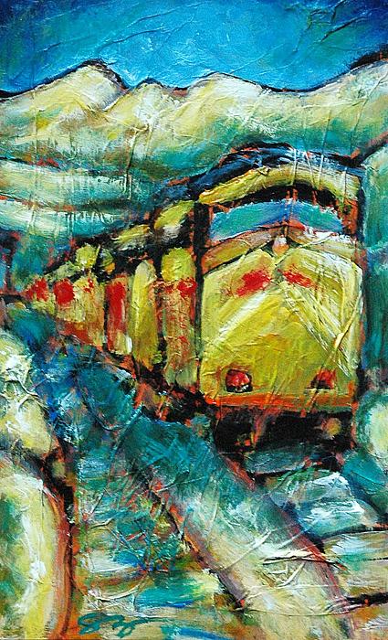 Train Painting - Truckee Train 2 by Sara Zimmerman