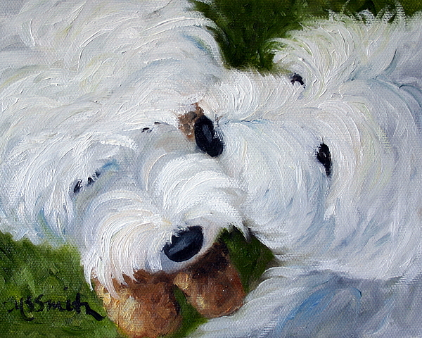 Westie Painting - Tug Of War by Mary Sparrow