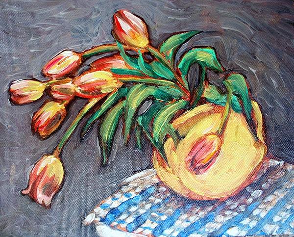 Tulip Painting - Tulip Fiesta by Sheila Tajima