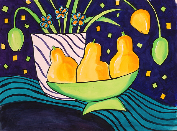 Painting Painting - Tulips And 3 Yellow Pears by Carrie Allbritton