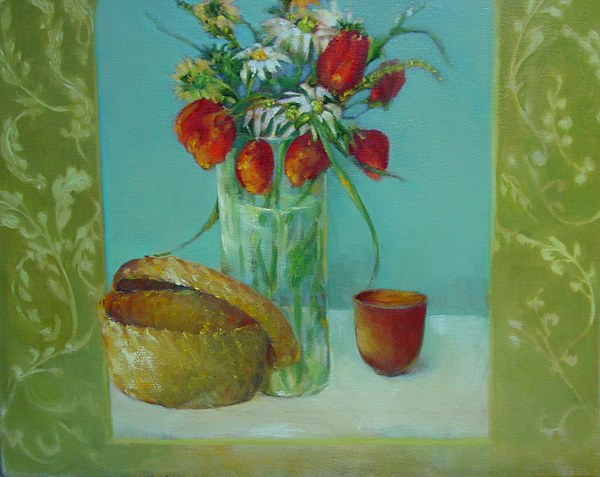 Tulips Painting - Tulips And Daisies               Copyrighted by Kathleen Hoekstra