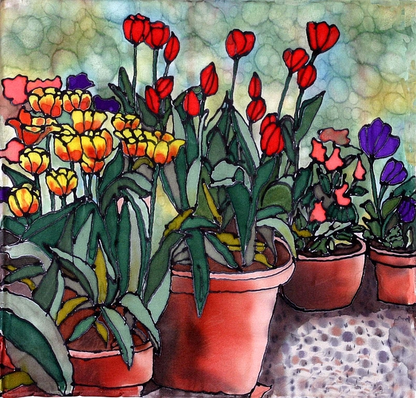 Silk Painting - Tulips In Clay Pots by Linda Marcille