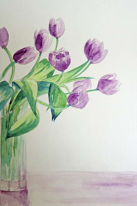 Flowers Painting - Tulips In Purple by Julie Lueders