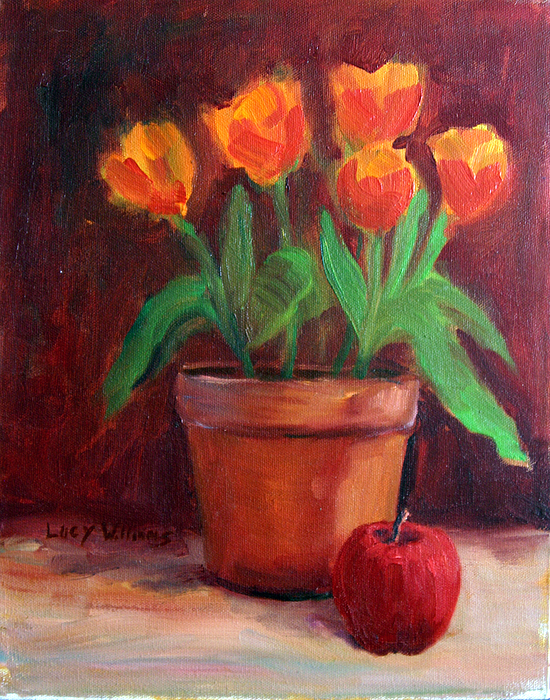 Still Life Painting - Tulips With Apple by Lucy Williams