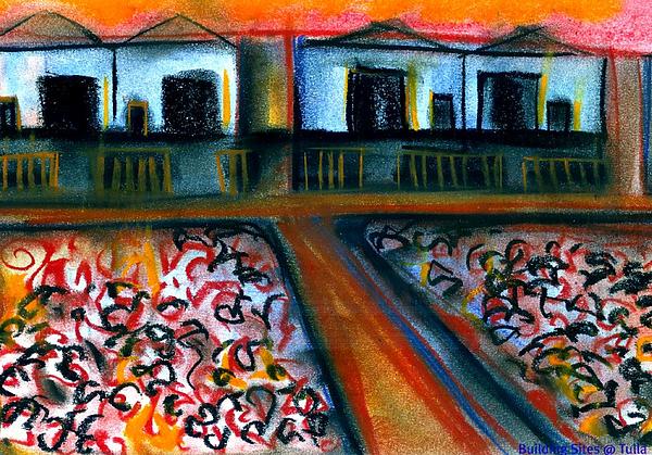 Pastels Mixed Media - Tulla Factories 2 by J Kamaru