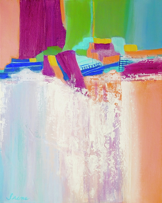 Abstract Waterfall Painting - Tumbling Waters by Irene Hurdle