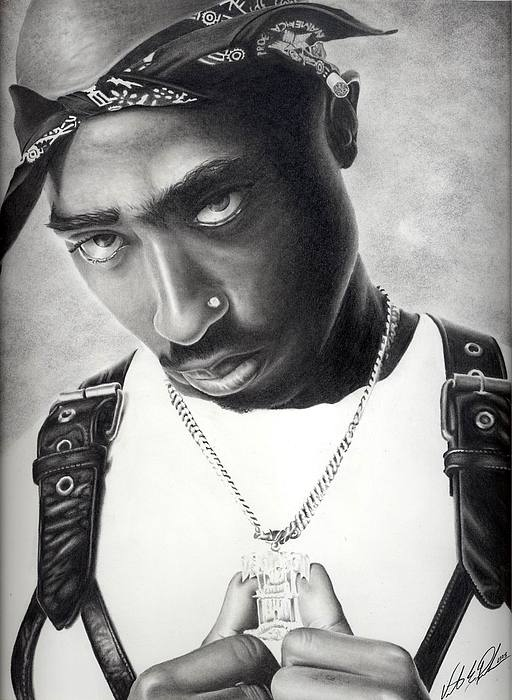 Tupac Drawing - Tupac by Vincent Parker
