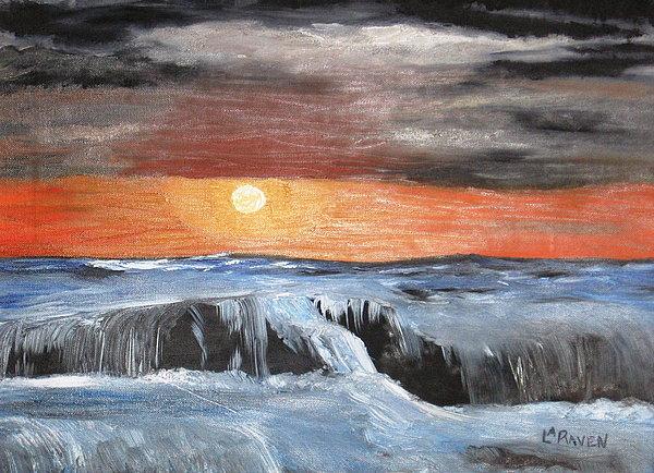 Landscape Painting - Turmoil by L A Raven