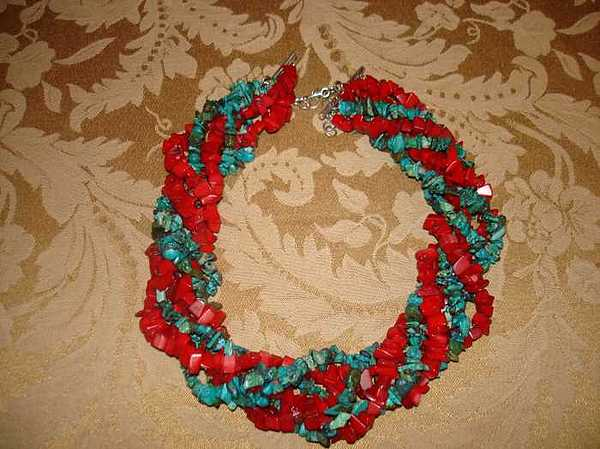Turquoise And Coral Chip Necklace Jewelry by Margaret R   Pujals