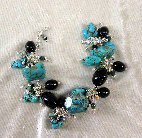 Jewelry Jewelry - Turquoise And Onyx Charm Bracelet by Janet Carroll