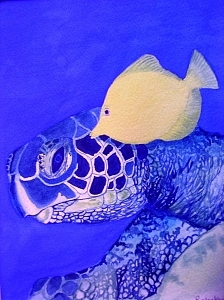 Sea Painting - Turtle And Friend by Robin MacKenzie