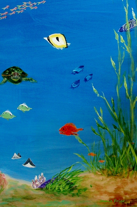 Water Painting - Turtle And Friends by Jamie Frier
