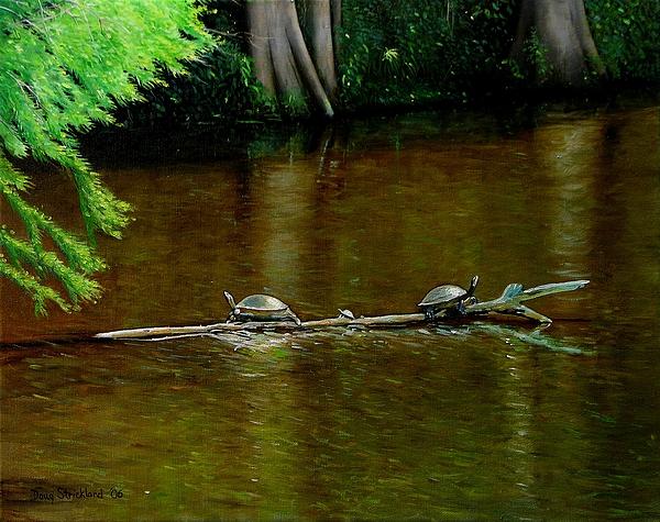 Doug Strickland Painting - Turtle Log Spa by Doug Strickland
