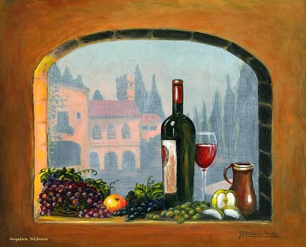 Angelica Dichiara Painting - Tuscan Arch Wine Grape Feast by Italian Art