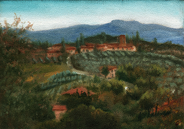 Italy Painting - Tuscan Farm by Leah Wiedemer