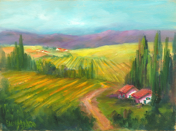 Vineyards Painting - Tuscan Fields by Sally Seago