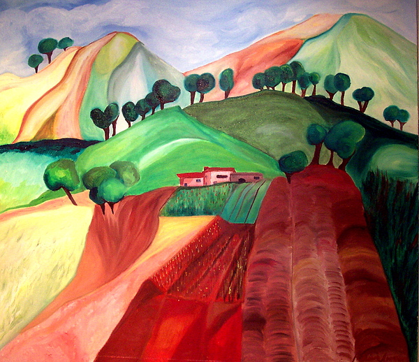 Abstract Painting - Tuscan Landscape by Patricia Arroyo