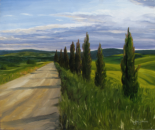 Tuscany Road Painting by Jay Johnson