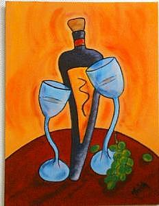 Wine Painting - Tuscany Valleyb by Trish Laffrenere