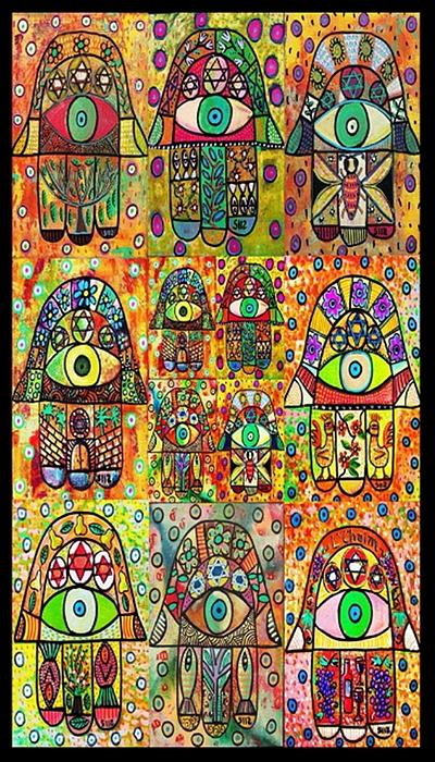 Twelve Painting - Twelve Hamsas by Sandra Silberzweig