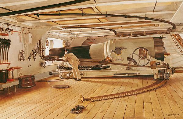 Twenty-seven Painting - Twenty-seven Pound Cannon On A Battleship by Gustave Bourgain