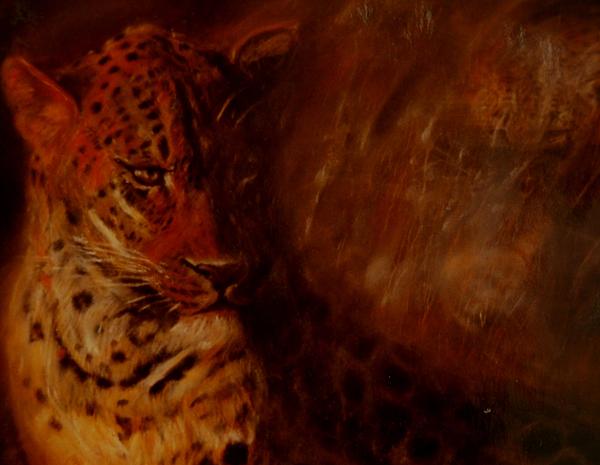 Twilight Leopard Painting by Arlene Rabinowitz
