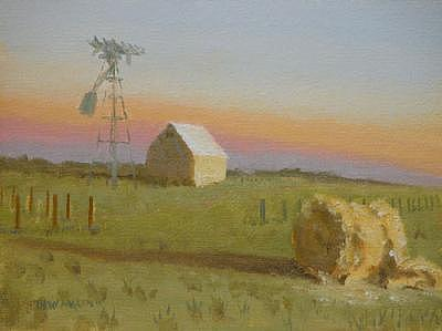 Landscape Painting - Twilight Of The Windmill by Thaw Malin III